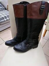 Ladies Evans Long Black & Brown Boots Size 8EEE Extra Wide