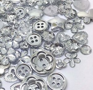 150 SILVER Coloured Buttons, Flatbacks and Embellishments Mix Cardmaking Craft