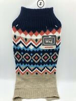 Simply Wag Dog Puppy Sweater Multicolored Warm Sweater Tan & Navy Size Small