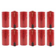 12 pcs Sub C 3400mAh NiMH 1.2V Rechargeable Battery w/ Tab Red US Stock
