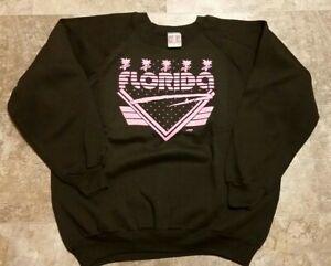 "90's Vintage Deadstock Florida Gold's Gym Black & Pink Sweatshirt XL 25"" x 27"""