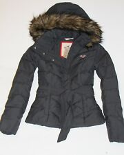 NWT HOLLISTER by Abercrombie Womens Down Puffer Jacket Coat Fur Trim Grey M