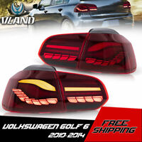 VLAND LED Tail Lights For VW GOLF MK6 2010-2014 Cherry Red Rear Light
