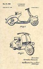 Official Vespa 125 US Patent Art Print-Vintage Antique 1949 Scooter Original 310