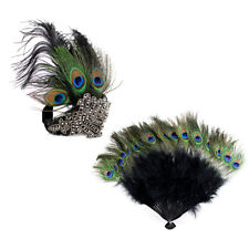 90fc7e3fe3 1920s' Gatsby Accessories Set Peacock Headband Feather Fan for Party  Halloween