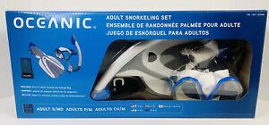 Oceanic Adult Snorkeling Set - 2 Fins, Mask, Snorkel And Storage Brand New OB