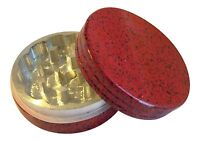 """2"""" inch 2 Piece Painted Metal Aluminum Herb Spice Tobacco Grinder Red Black"""