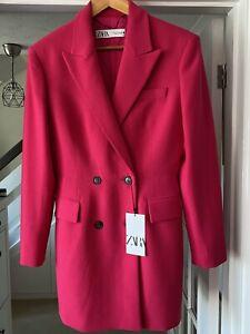 ZARA Fuchsia Pink Double Breasted Blazer Jacket Dress Size M Bloggers Fave