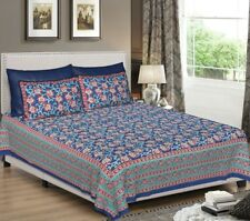 Indian Traditional Handmade King Size Cotton Bed Sheet With Two Pillow Covers