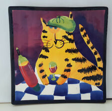 Large Naylor Designs Hand Painted Wall Hanging Cat Plate