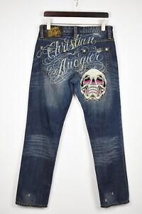 CHRISTIAN AUDIGIER Men's W32/L32 Ripped Skull Logo Print Jeans 37273_GS