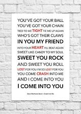 Dave Matthews Band - Crash Into Me - Song Lyric Art Poster - A4 Size