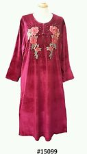 15099 Ladies' knitted  Velvet multi  colour embroidery floral long kaftan (XXL)