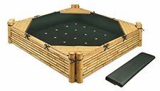 Badger Basket Bamboo Beach Sandbox with Liner and Cover - Natural/Green