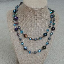 Handmade glass beads, acrylic beads and metal beads long necklace, 36""