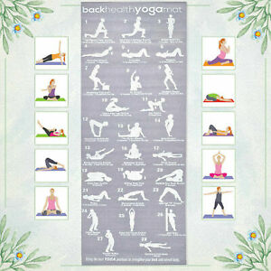 Yoga Exercise Mat Rubber 5mm Non-Slip Pilates Gym 28 Position Guide With Strap