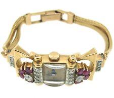 .60 ct tw Diamonds BULOVA 14k Rose Gold Hand Winding Ruby Vintage RARE Watch