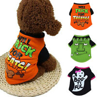 Halloween Pet Dog Cat Puppy Bone Printed Short Sleeve Shirt Costume Clothes Sanw