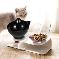 Doppel Napf Katze Hund Welpe Trinkwasser Futterspender Schale W / Raised Stand