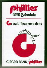 1979 PHILADELPHIA PHILLIES GIRARD BANK BASEBALL POCKET SCHEDULE FREE SHIPPING
