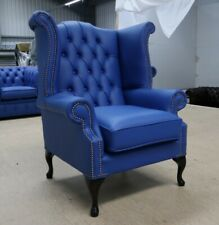 GEORGIAN CHESTERFIELD QUEEN ANNE HIGH BACK WING CHAIR BLUE LEATHER