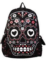 Banned Mexican Sugar Skull Day Of The Dead Floral Black Shoulder Backpack Bag