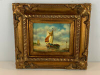H. Cook Signed Ship Sail Boat Seascape Oil on Board Painting