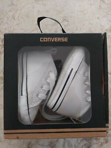 Converse New Born Crib Booties Girls White Leather First All Star Baby Shoes 1