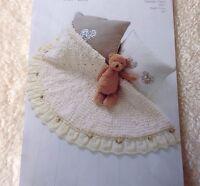 Knitting Pattern Pleated Edge/Ribbon & Roses Baby Blanket - Snowball & DK (copy)