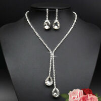 Rhinestone Necklace Earrings Crystal Water Drop Shape Bridal Jewelry Best