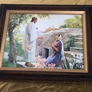 Vintage Resurrection Lord God Jesus Christ Tomb Mary Magdalene Wood Framed Print