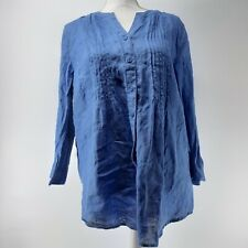 Coldwater Creek Long-sleeved Blouse Blue Size Large Relaxed Women's