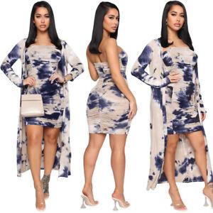Fashion Clubwear Women Tie-Dye Strapless Bodycon Dress Long Sleeves Coat 2pcs