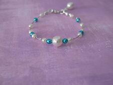 Bracelet Bleu Turquoise/couleur Ivoire pr robe d Mariée/Mariage/Soirée pas cher