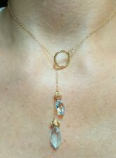 Solid 14k gold toggle flower 6ct marquise blue Topaz pendant necklace lariat