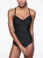 NWT Athleta 36 D / DD Black Twist Up Tankini Top Swim Bra Sized Quick Dry