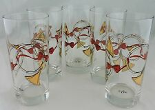 VINTAGE DRINKING WATER/WINE GLASSES SET 5 GOLD,RED,HORN,BOW MUSICAL,SIGNED