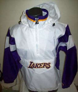 LOS ANGELES LAKERS NBA Starter Hooded Half Zip Pullover Jacket WHITE