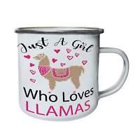 Just A Girl Who Loves Llamas Pink Hearts Retro,Tin, Enamel 10oz Mug ii135e