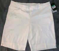 "NEW Nike Women's Dri Fit Dry UV Bermuda 11"" Cream Golf Shorts Sz XL FREE SHIP"