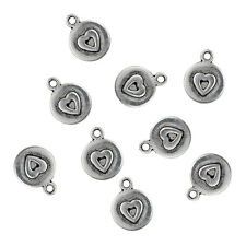 10pcs Love Heart Beads Charms Tibetan Silver Alloy Pendant DIY Necklace Making