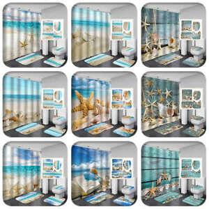 Sea Conch Starfish Shower Curtain BathMat Toilet Cover Rug Bathroom Set 1/3/4Pcs