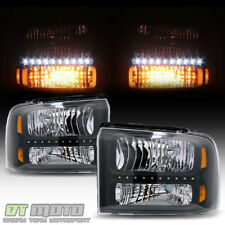 Black 2005 2006 2007 Ford F250 F350 F450 SD LED Headlights Headlamps Left+Right