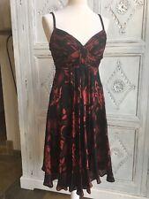 Anne Klein Fiesta/Vestido Boda/Ocasión Talla EE. UU. 4/UK 8 Rojo/Negro Floral