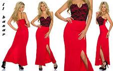 vestito donna abito rosso lungo spacco laterale inserto pizzo nero taglia unica