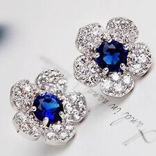 1 Paar Ohrringe Plum Blumen Ohrstecker Kristall Strass Damen Ohrschmuck Silber