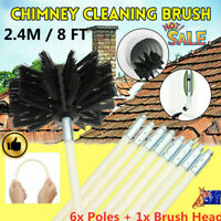 7 Pcs Set Chimney Sweeping Set Sweep Brush Drain Rods Flue Cleaning Fireplace