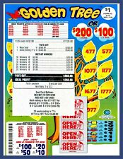 1120ct 5W Golden Tree seal card Bingo Pull Tab Tip Board ($200) Last Sale sign