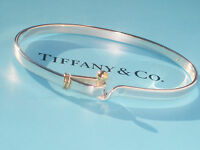 Tiffany & Co Sterling Silver & 18Ct 18K Yellow Gold Hook & Eye Bracelet Bangle