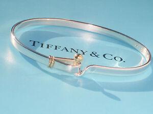 Tiffany & Co Argent Sterling & 18Ct 18K or Jaune Crochet & Eye Bracelet
